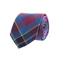 Tartan cotton tie in vintage barn and blue