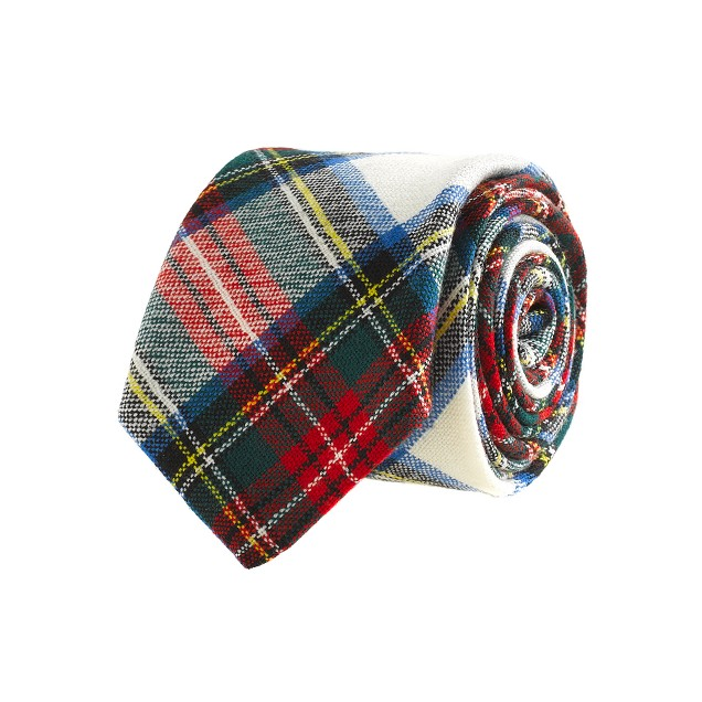 Tartan wool tie in holiday white