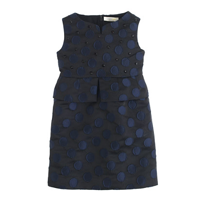 Girls' dot brocade dress