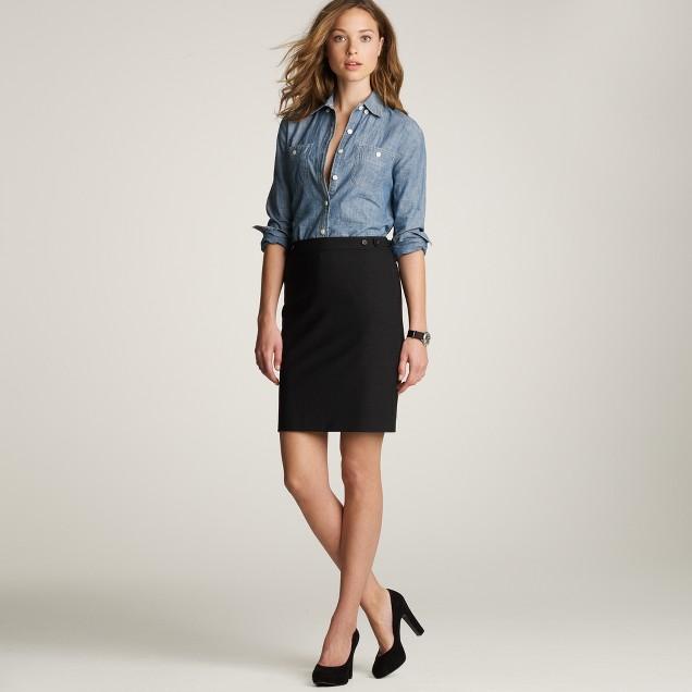 Petite pencil skirt in bi-stretch wool