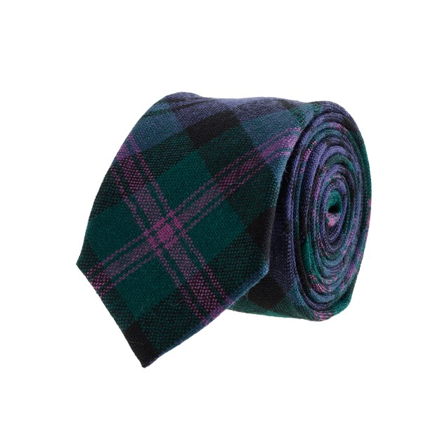Tartan wool tie in fern green