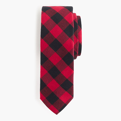 Cotton tie in buffalo check