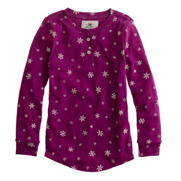 Girls' long-sleeve sleep set in snowflake