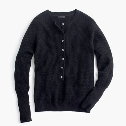 Collection cashmere waffle henley sweater