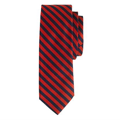 Silk tie in papaya stripe