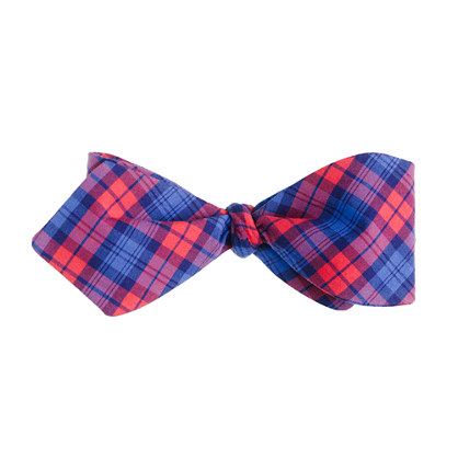 Tartan cotton bow tie in poppy and blue
