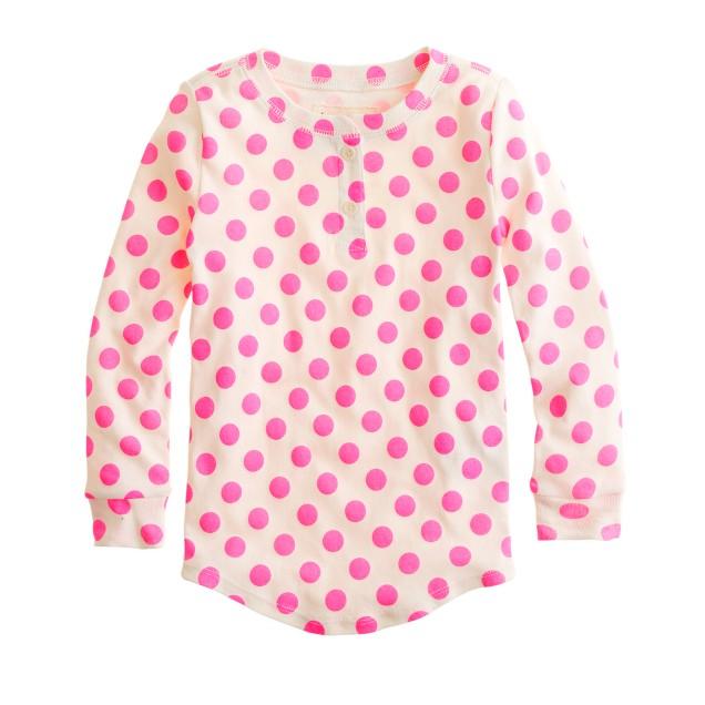 Girls' long-sleeve sleep set in polka dot