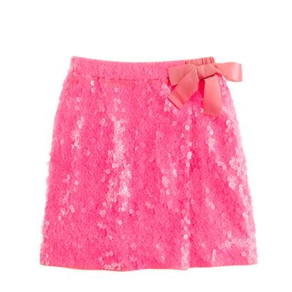 Girls' sequin faux-wrap skirt