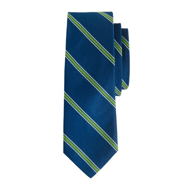 Silk tie in lagoon blue stripe