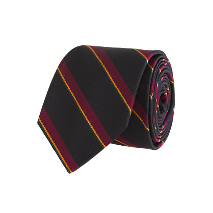 Medium-stripe silk tie in navy
