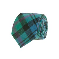 Tartan wool tie in summer plum