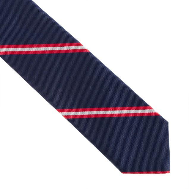 Silk tie in double stripe