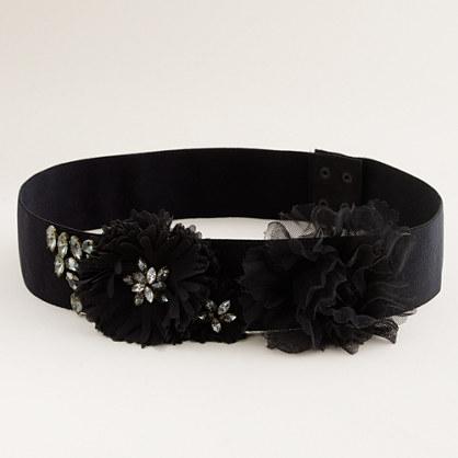 Jeweled elastic flower belt