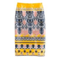 Long No. 2 pencil skirt in scroll print