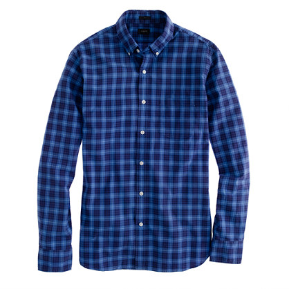 Slim Secret Wash shirt in sapphire tartan