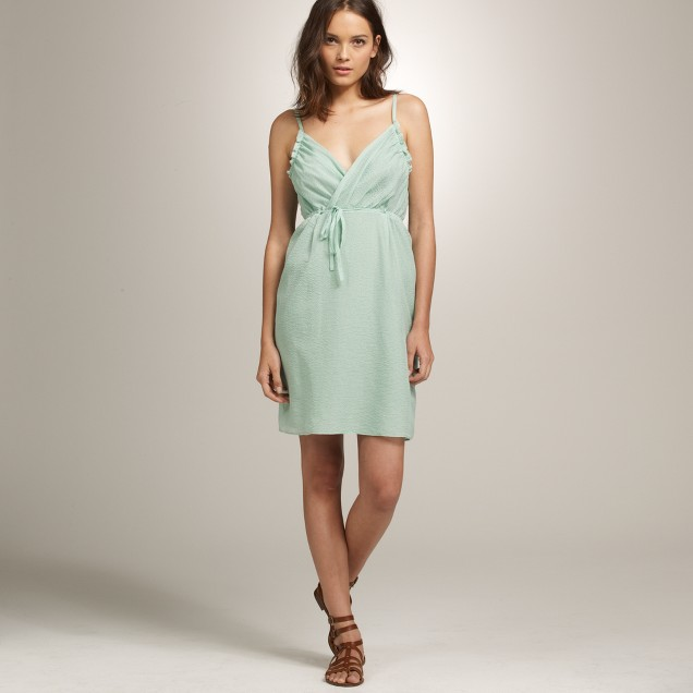 Petite Thessaly beach dress in embossed silk and cotton