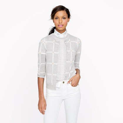 Collection featherweight cashmere cardigan in windowpane check