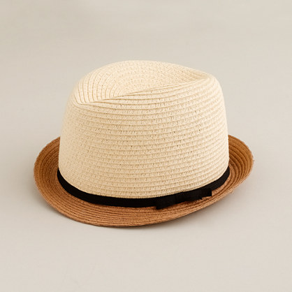 Stripe-brim straw fedora
