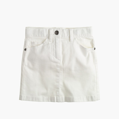 Girls' white denim mini skirt
