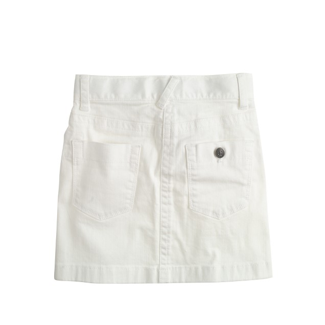 Girls' white denim mini skirt