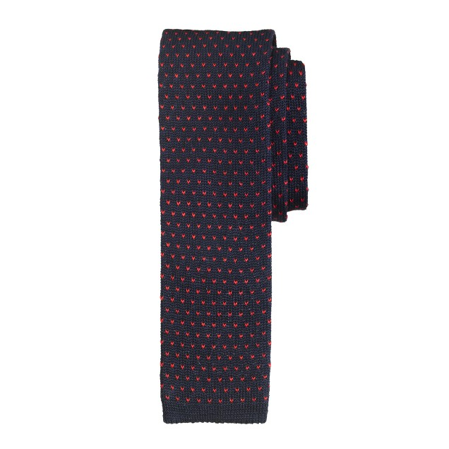 Knit tie in pindot
