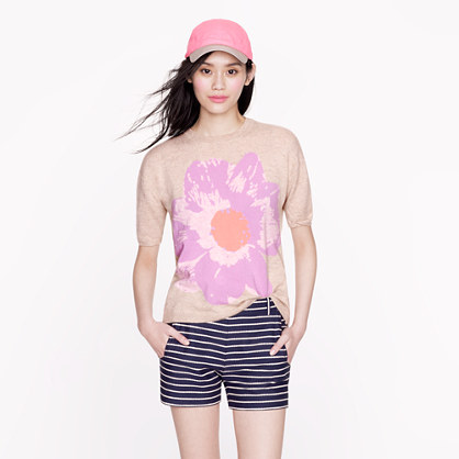 Collection cashmere short-sleeve petunia sweater