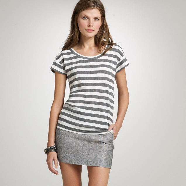 Stripe button-back tee