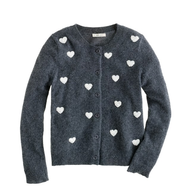 Girls' sequin hearts cardigan