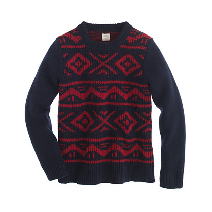 Boys' lambswool graphic crewneck