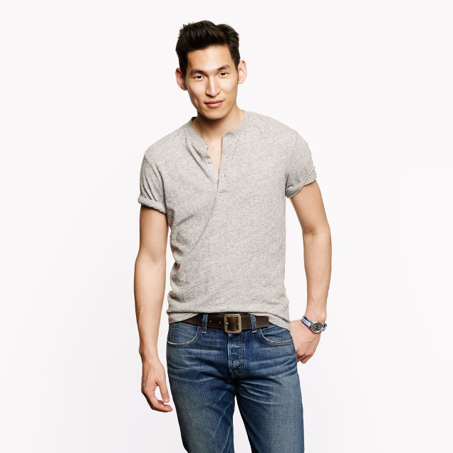 Field knit short-sleeve henley