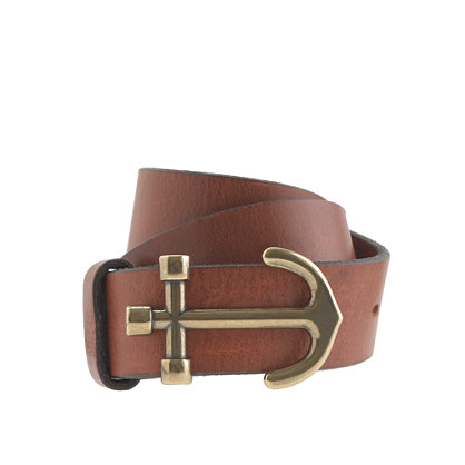 Kids' leather anchor buckle belt
