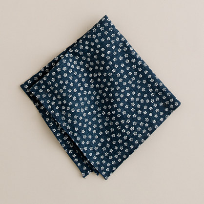 Denim floral pocket square