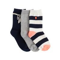 Girls' holiday trouser socks three-pack