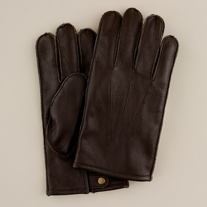 Cashmere-lined leather button gloves