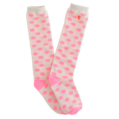 Girls' dotted knee-highs