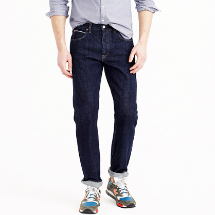 1040 slim-straight Japanese selvedge jean in resin crinkle wash