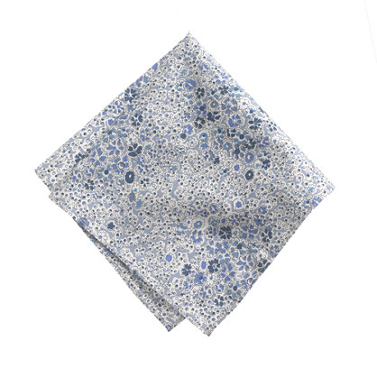 Cotton pocket square in blue floral