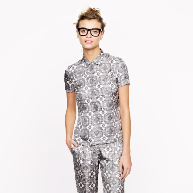 Collection silk popover in pewter paisley