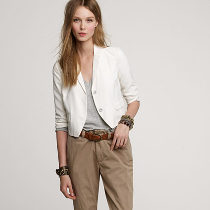 Cropped silk blazer