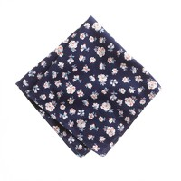 Cotton pocket square in montclair navy floral