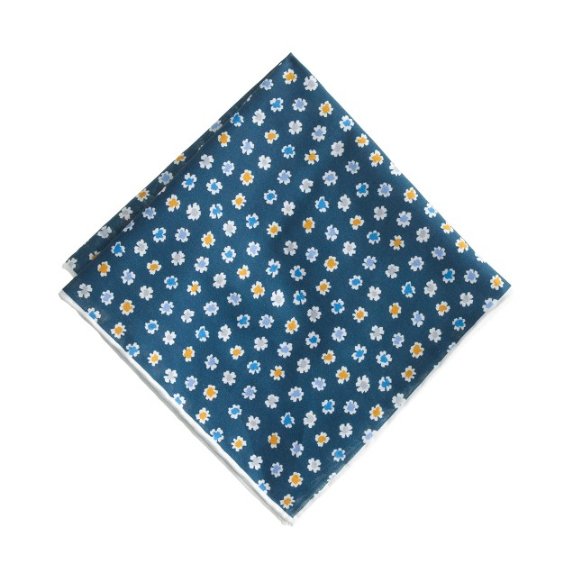 Italian cotton pocket square in ink-dot floral