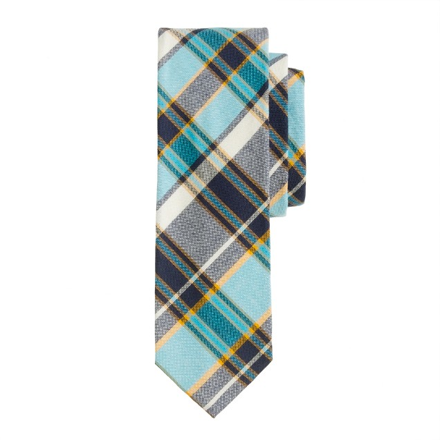 Indian cotton tie in pacific plaid