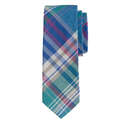 Indian cotton tie in lagoon plaid