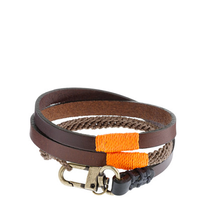 Caputo & Co.™ triple-wrap leather and waxed cord bracelet