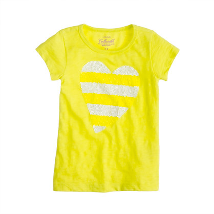 Girls' sequin-stripe heart tee