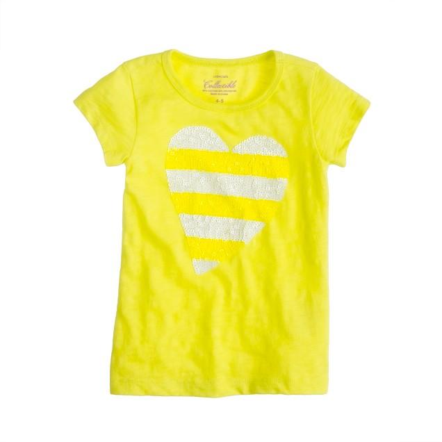 Girls' sequin-stripe heart tee