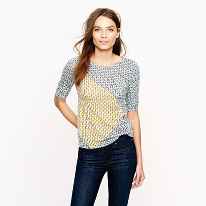 Abstract diamond three-quarter sleeve top