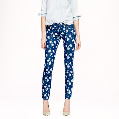 Cropped matchstick jean in indigo floral