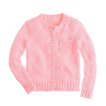 Girls' heathered neon cardigan