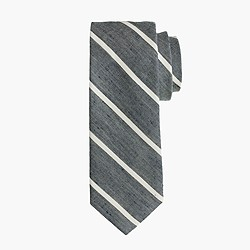 English linen-cotton tie in thin stripe